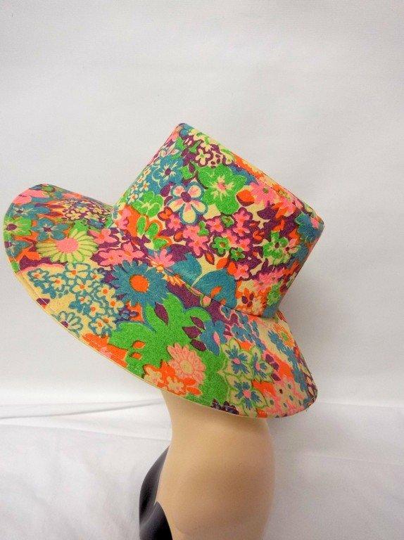 vintage 1960s paper hat flowered floral mod groovy - 3