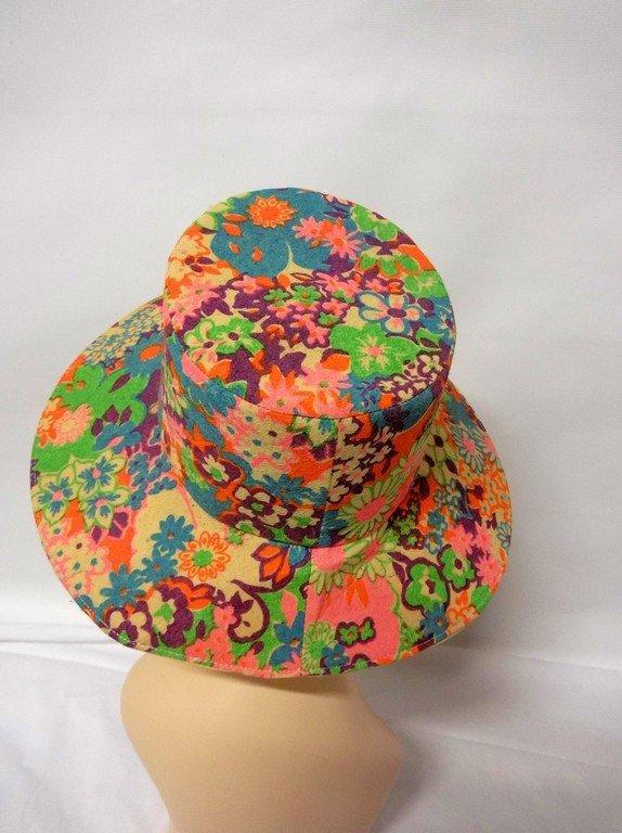 vintage 1960s paper hat flowered floral mod groovy - 4