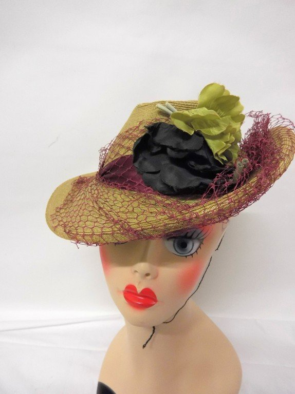 antique vintage teens straw hat anenome flowers green
