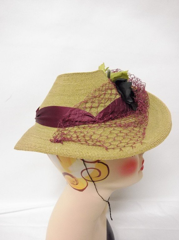 antique vintage teens straw hat anenome flowers green - 2