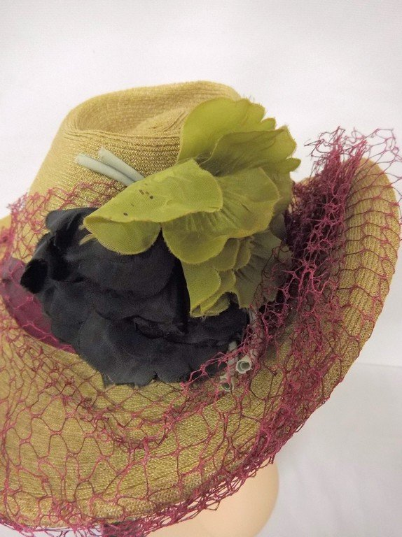 antique vintage teens straw hat anenome flowers green - 3