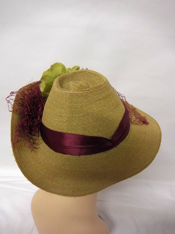 antique vintage teens straw hat anenome flowers green - 4