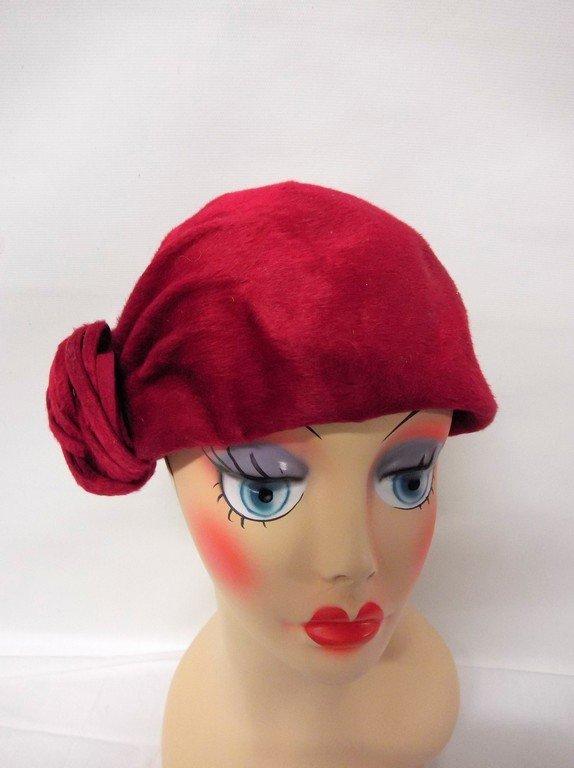 vintage 1950s  Frank Olive hot pink deep red plush