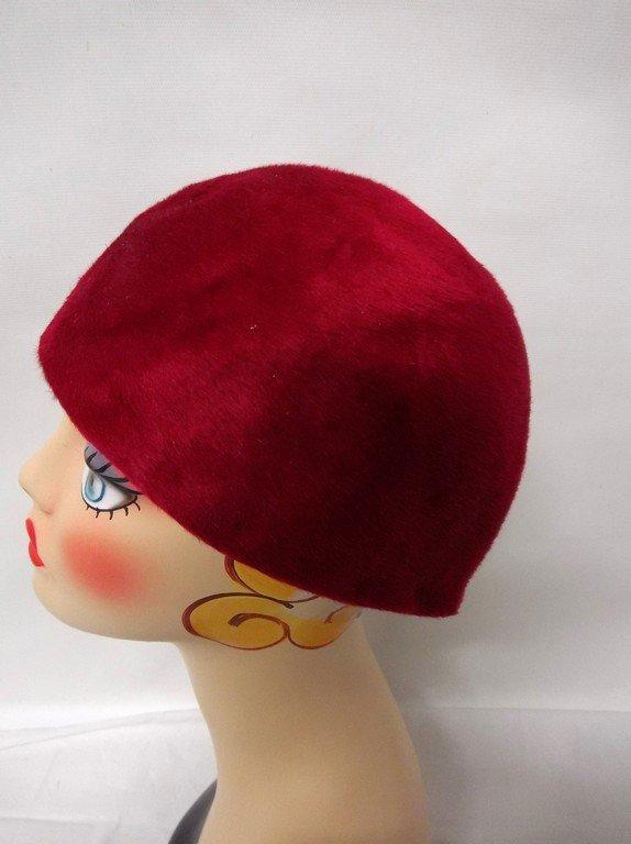 vintage 1950s  Frank Olive hot pink deep red plush - 3