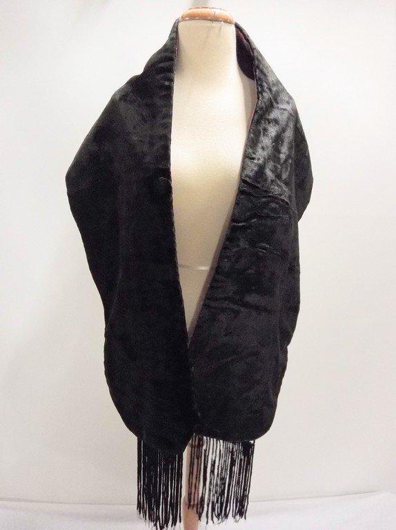 antique teens Victorian black velvet stole with silk