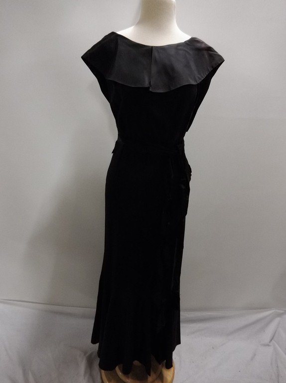 1930's Black Satin Mermaid Dress