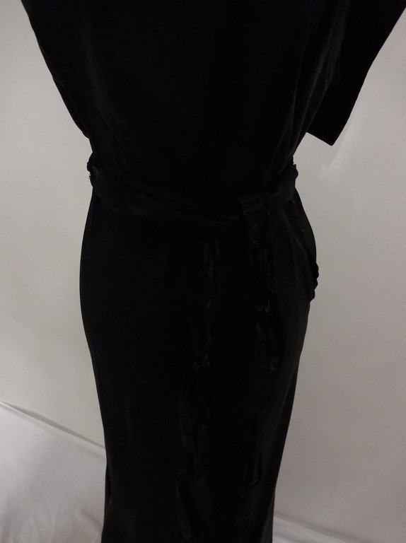 1930's Black Satin Mermaid Dress - 5