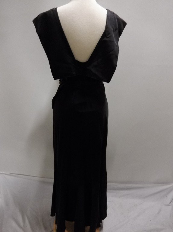 1930's Black Satin Mermaid Dress - 6