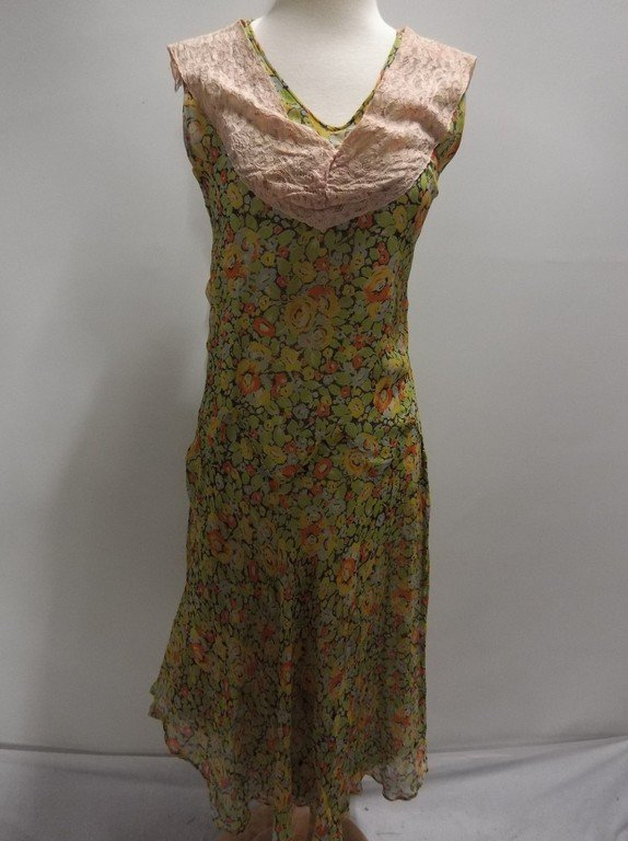 1920's Floral Chiffon Flapper Dress with Added Lace at