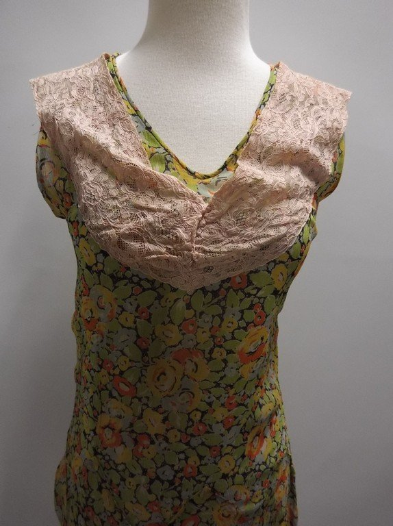 1920's Floral Chiffon Flapper Dress with Added Lace at - 2