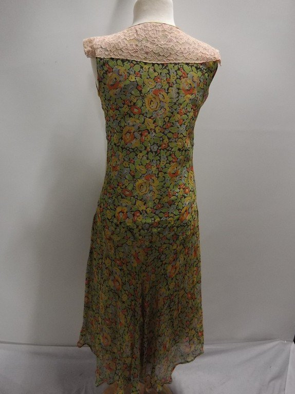 1920's Floral Chiffon Flapper Dress with Added Lace at - 4