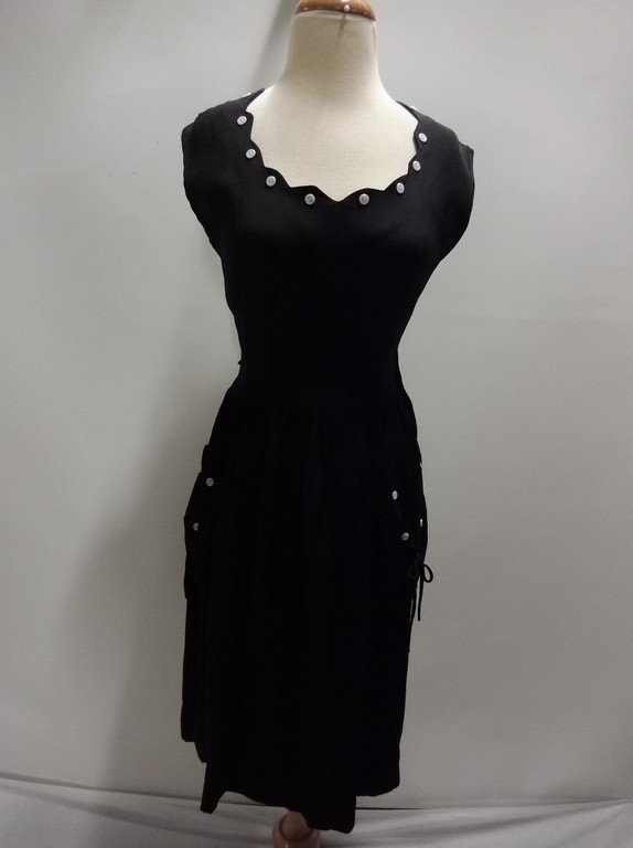 Black Rayon 1950's Vintage Sheath Dress with Sweat