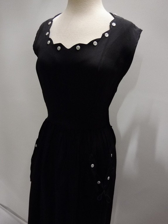 Black Rayon 1950's Vintage Sheath Dress with Sweat - 3