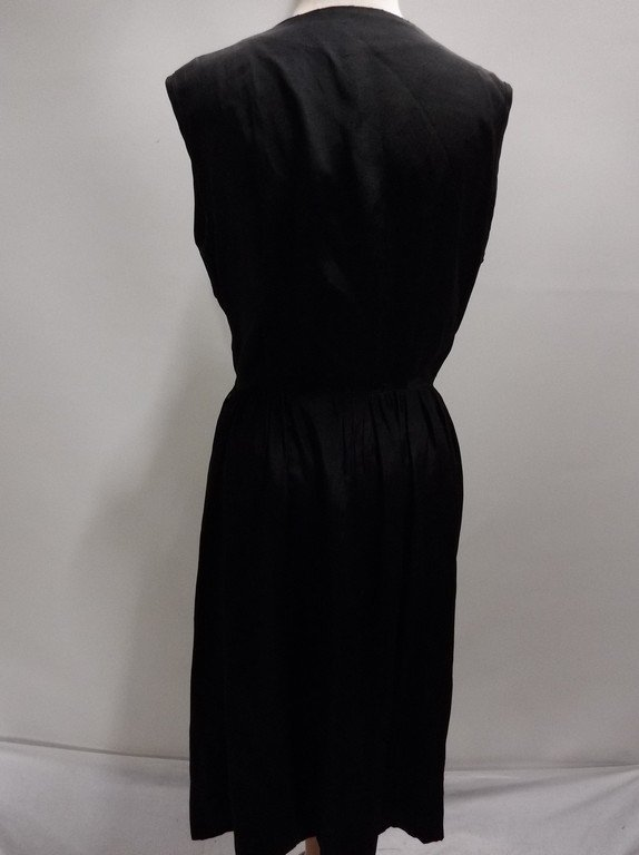 Black Rayon 1950's Vintage Sheath Dress with Sweat - 5