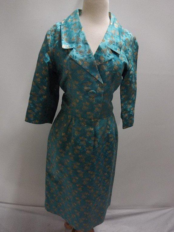 1960's turquoise Blue & Gold Shirt Waist Dress in Silk