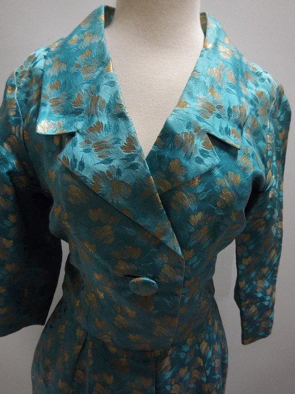 1960's turquoise Blue & Gold Shirt Waist Dress in Silk - 2