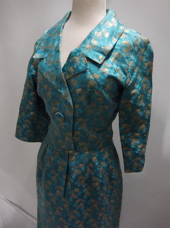 1960's turquoise Blue & Gold Shirt Waist Dress in Silk - 3