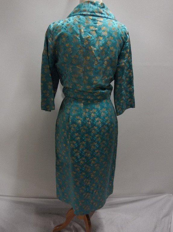 1960's turquoise Blue & Gold Shirt Waist Dress in Silk - 4