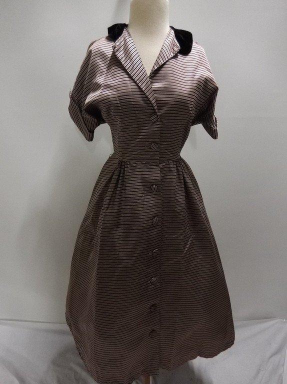 1940's Pink Stripe Silk Taffeta with Velvet Shirt Waist