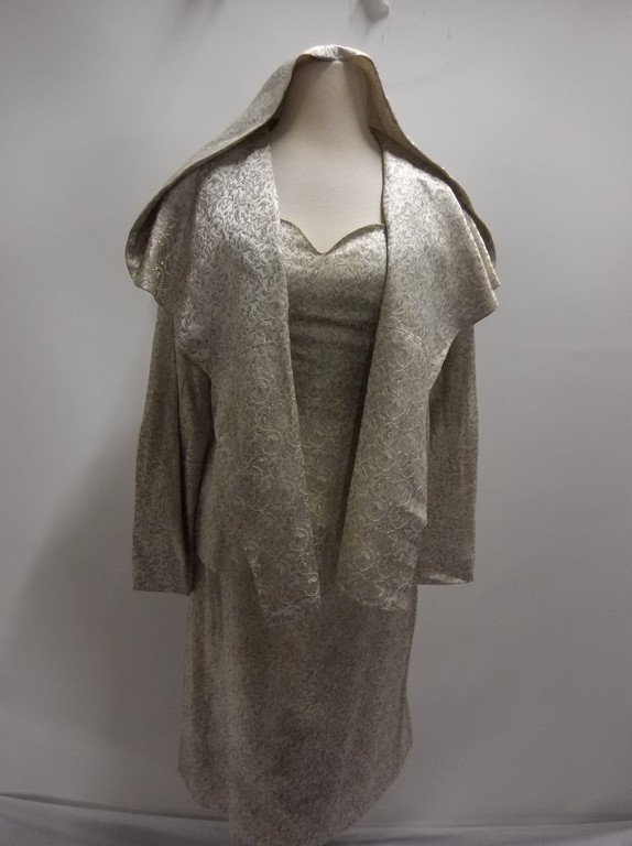 1950/60's 2 piece Silver Silk Brocade Dress & Hooded