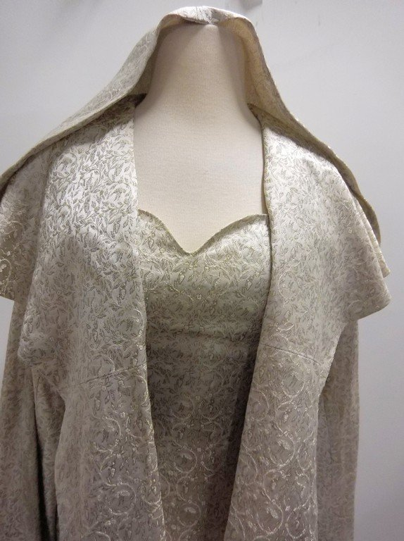 1950/60's 2 piece Silver Silk Brocade Dress & Hooded - 2