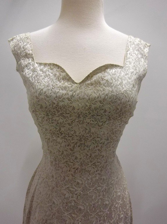 1950/60's 2 piece Silver Silk Brocade Dress & Hooded - 6