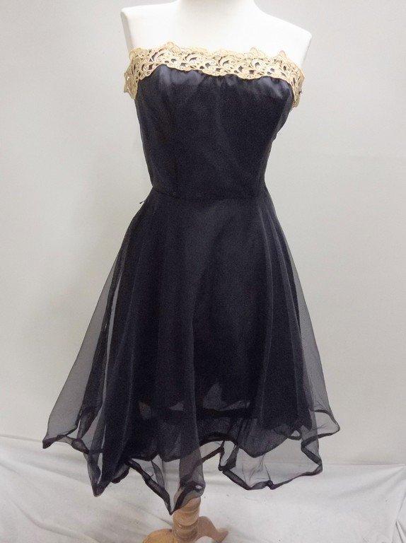 1950's Miss Cane Strapless navy Blue Nylon & Lace Dress