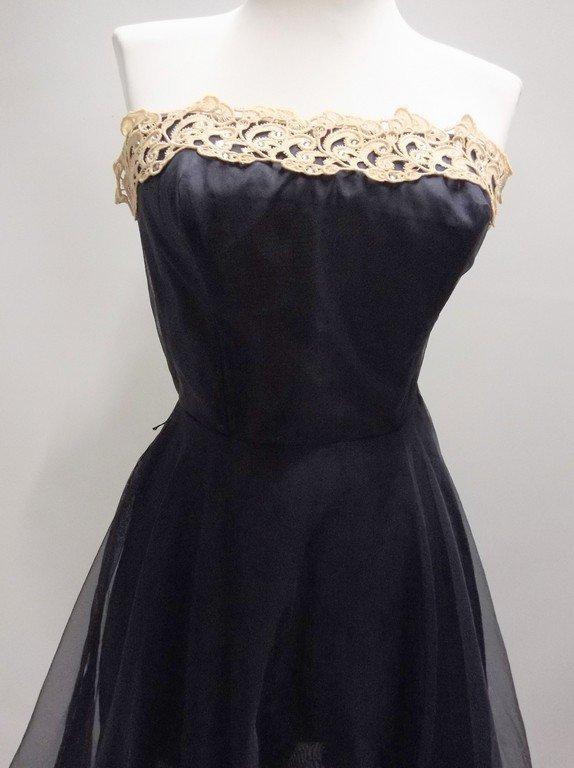 1950's Miss Cane Strapless navy Blue Nylon & Lace Dress - 2