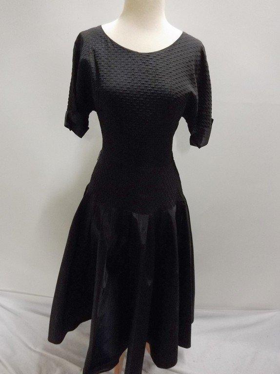 1940's Black Taffeta Fit & Flare Party Dress