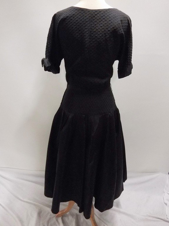 1940's Black Taffeta Fit & Flare Party Dress - 4