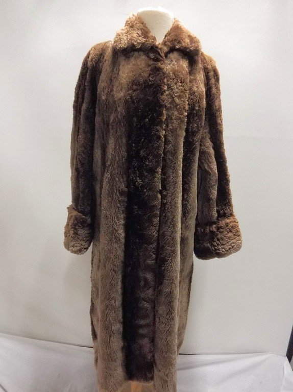 Full Length Vintage circa 1940's Fur Swing Coat from
