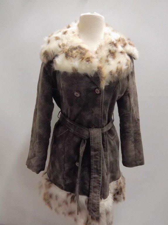 1970's Plush Cotton Coat with Faux Fur Animal Print