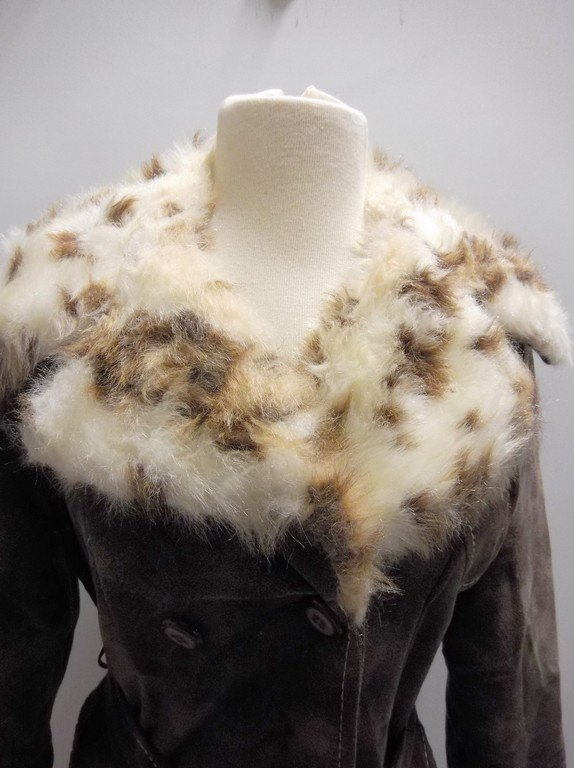 1970's Plush Cotton Coat with Faux Fur Animal Print - 2