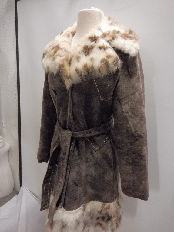 1970's Plush Cotton Coat with Faux Fur Animal Print - 3