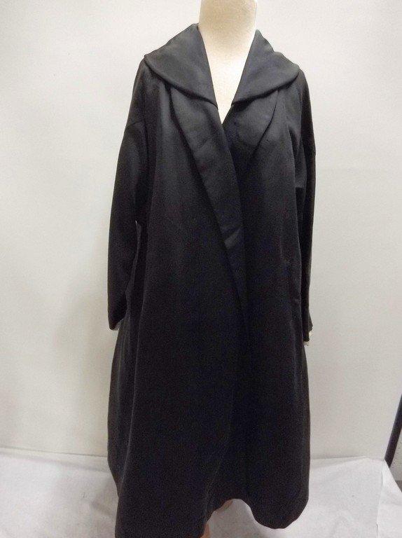 1940's Black Faille Clutch Swing Coat by Lamsons