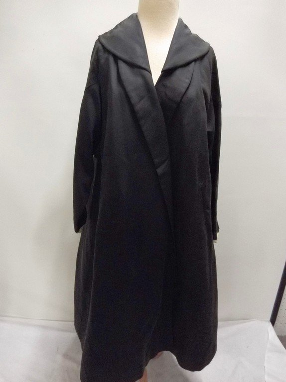 1940's Black Faille Clutch Swing Coat by Lamsons - 2
