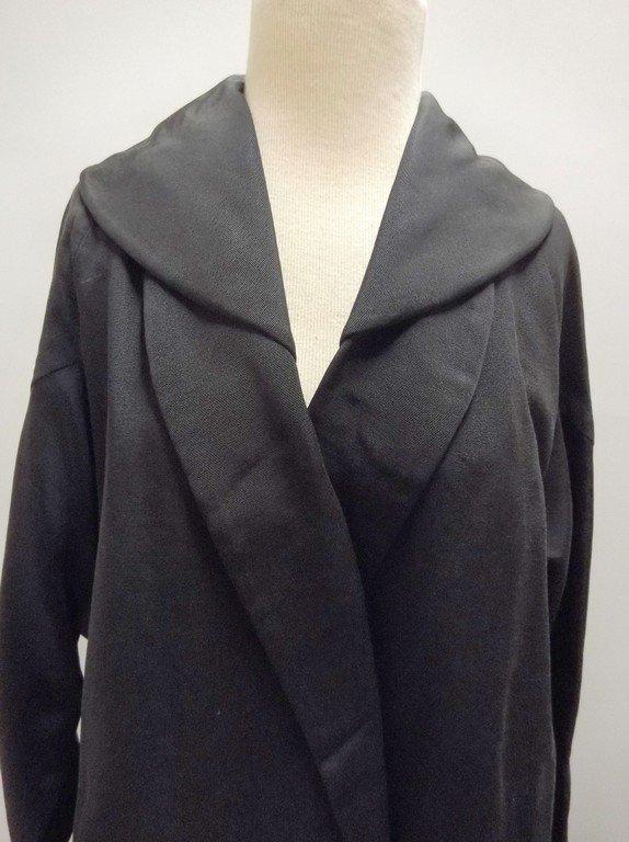 1940's Black Faille Clutch Swing Coat by Lamsons - 3