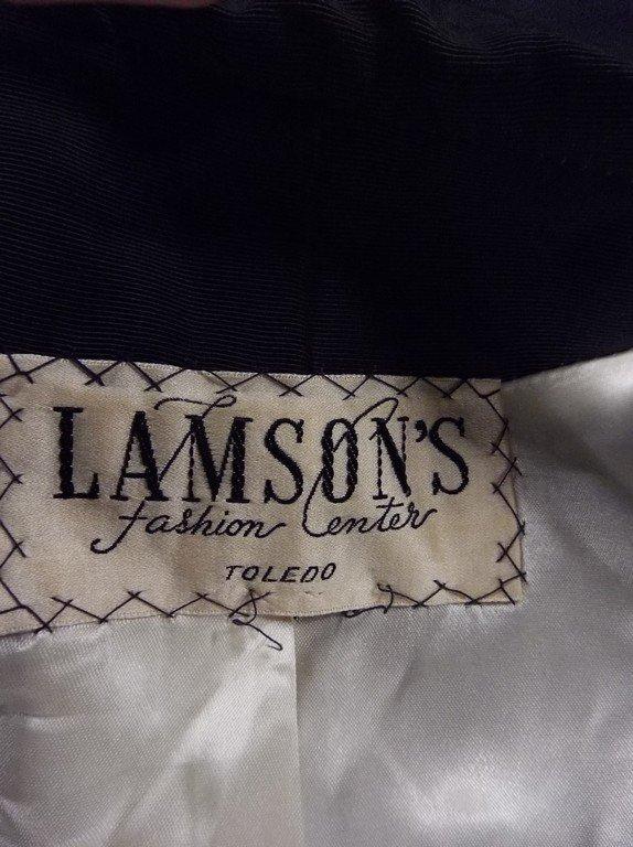 1940's Black Faille Clutch Swing Coat by Lamsons - 7