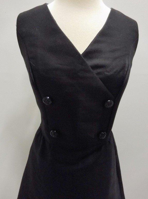 1960's Black Sleeveless Sheath Cocktail Dress - 2