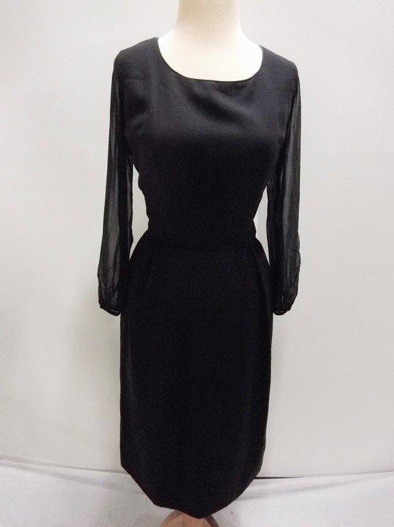 1960's Black Sheath Dress with long Sheer Sleeves
