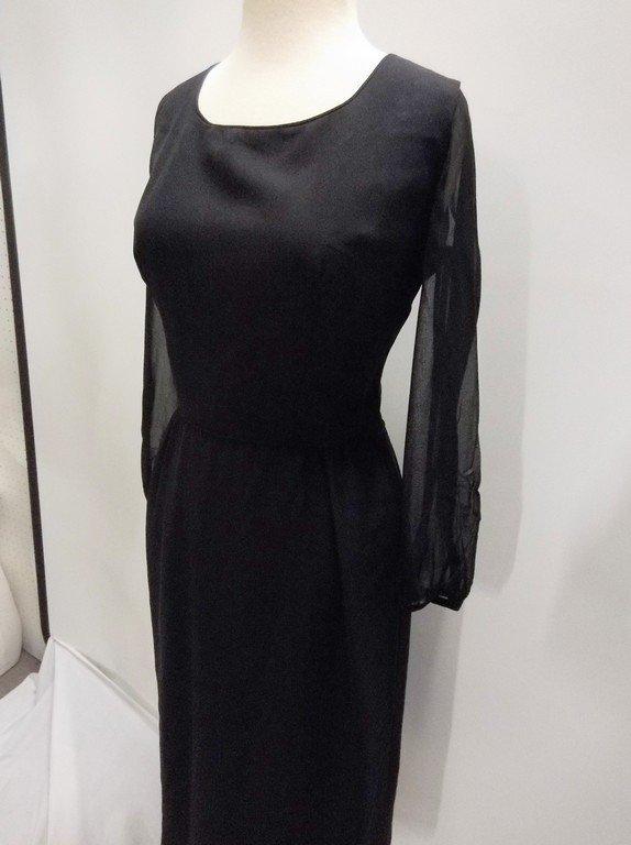 1960's Black Sheath Dress with long Sheer Sleeves - 3