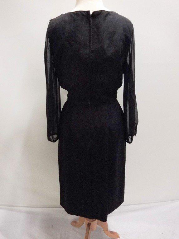 1960's Black Sheath Dress with long Sheer Sleeves - 4