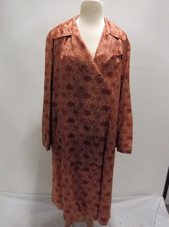 1950's Floral Brown Silk/Acetate Light Weight Swing
