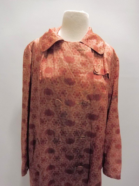 1950's Floral Brown Silk/Acetate Light Weight Swing - 3