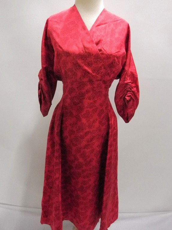 1940/50's Red Floral Dress with Criss-Cross Bodice