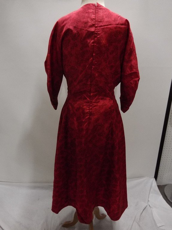 1940/50's Red Floral Dress with Criss-Cross Bodice - 5
