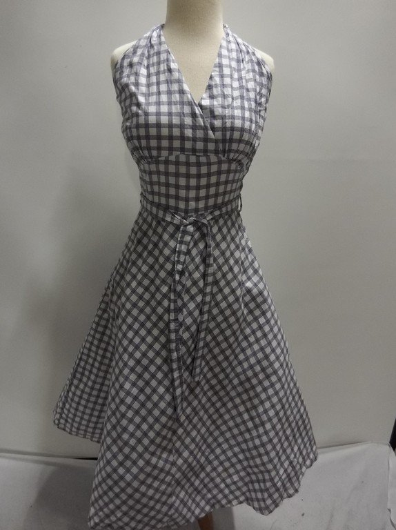1950's Blue Check Cotton Halter Dress, Fit & Flare
