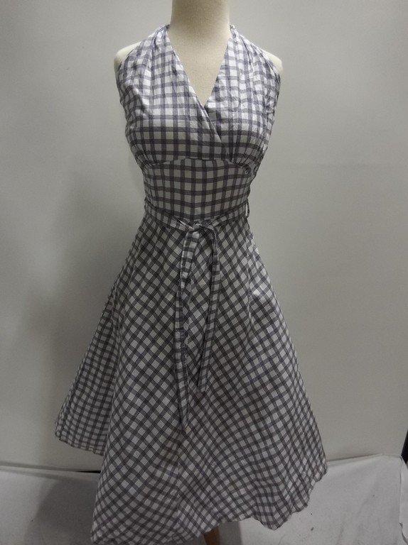 1950's Blue Check Cotton Halter Dress, Fit & Flare
