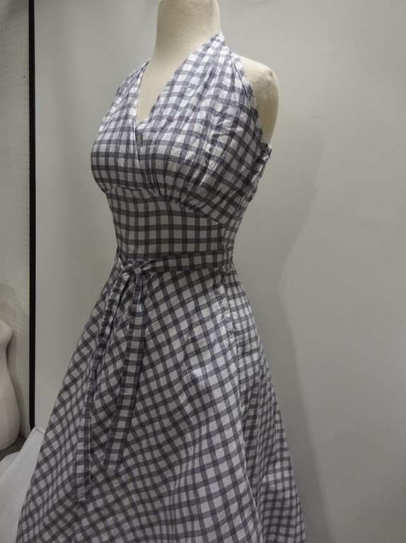 1950's Blue Check Cotton Halter Dress, Fit & Flare - 3