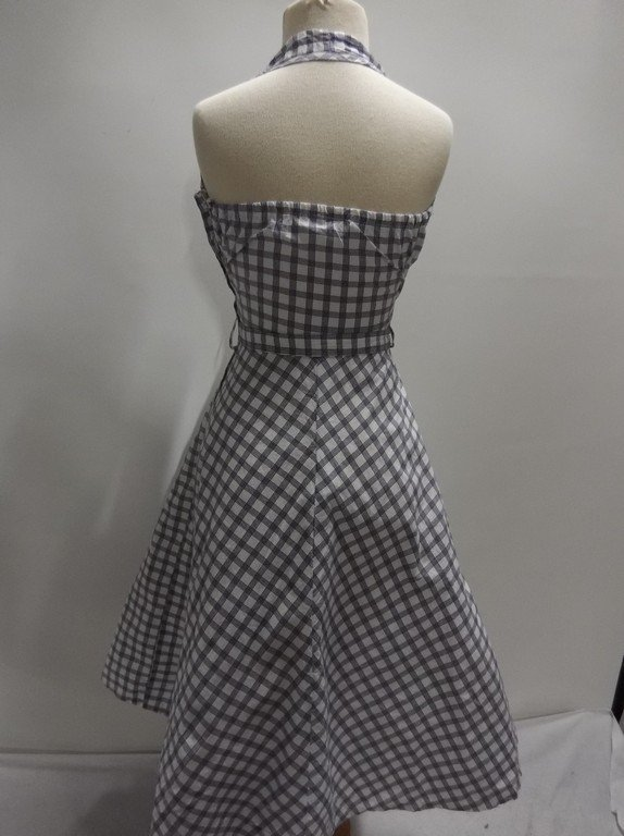 1950's Blue Check Cotton Halter Dress, Fit & Flare - 4